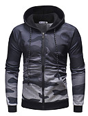 cheap Fashion Watches-Men's Basic Long Sleeve Hoodie - Solid Colored / Camouflage Hooded Dark Gray L / Winter