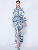 זול שמלות מודפסות-מקסי שרוכים לכל האורך / דפוס, פרחוני - שמלה טוניקה בוהו / סגנון רחוב בגדי ריקוד נשים