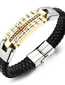 cheap Quartz Watches-Men's Braided Leather Bracelet Loom Bracelet - 18K Gold Plated, Titanium Steel Punk, Rock, Fashion Bracelet Gold / Silver For Daily Street