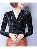 baratos Camisas Femininas-Mulheres Blusa Básico Patchwork, Sólido
