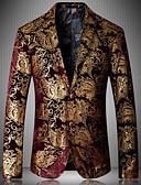 ieftine Maieu & Tricouri Bărbați-Bărbați Petrecere Toamnă / Iarnă Mărime Plus Size Regular Blazer, Imprimeu Rever Clasic Manșon Lung Poliester Albastru piscină / Auriu / Roșu-aprins XXXL / 4XL / XXXXXL