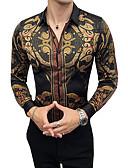 cheap Men's Shirts-Men's Work Vintage Slim Shirt - Print / Color Block Classic Collar / Long Sleeve / Fall