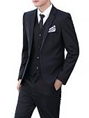 povoljno Odijela-Muškarci Dnevno / Rad Posao / Osnovni Proljeće & Jesen Normalne dužine odijela, Jednobojni Klasični rever Dugih rukava Akril / Poliester Obala / Crn / Lila-roza / Poslovni casual / Slim