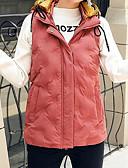 abordables Blazers y Chaquetas de Mujer-Mujer Diario Casual Un Color Regular Acolchado, Poliéster Sin Mangas Invierno Con Capucha Rojo / Rosa / Gris L / XL / XXL