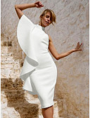 baratos Camisas Femininas-Mulheres Sofisticado / Elegante Delgado Calças - Sólido Frufru Branco / Festa / Gola Redonda / Sexy