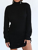 cheap Sweater Dresses-Women's Weekend Basic Sweater Dress - Solid Colored Turtleneck White Black S M L