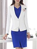 baratos Blusas Femininas-Mulheres Ternos / Conjuntos Para Noite Sólido Decote V