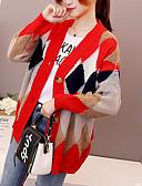 tanie Swetry damskie-Damskie Weekend Kolorowy blok Długi rękaw Regularny Sweter rozpinany, W serek Czarny / Czerwony L / XL / XXL
