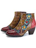 ieftine Rochii Maxi-Pentru femei Ghete Nappa Leather Primăvara & toamnă Vintage Cizme Toc Îndesat Cizme / Cizme la Gleznă Mărgele Rosu