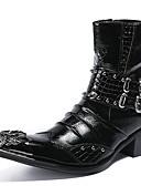 billige T-skjorter og singleter til herrer-Herre Fashion Boots Nappa Lær Vinter Britisk Støvler Hold Varm Støvletter Svart / Vin / Fest / aften