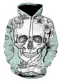 billige Hættetrøjer og sweatshirts til herrer-Herre Plusstørrelser Sport Gade / Punk & gotisk Langærmet Hætte Hattetrøje - Farveblok / 3D / Dødningehoveder, Trykt mønster