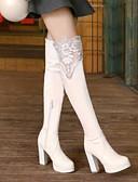 cheap Women's Shirts-Women's Fashion Boots PU(Polyurethane) Winter Boots Chunky Heel Knee High Boots White / Black