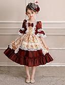 preiswerte Kleider für die Blumenmädchen-Prinzessin Cosplay - Lolita Rokoko Kostüm Mädchen Party Kostüme Maskerade Kostüm Schwarz und Weiß Vintage Cosplay Polyester Halbe Ärmel Tee-Länge Halloween Kostüme