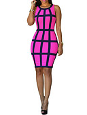 cheap Women's Dresses-Women's Club / Weekend Skinny Bodycon Dress - Plaid High Waist Strap Summer Yellow Fuchsia Light Blue M L XL / Sexy