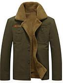hesapli Erkek Ceketleri ve Kabanları-Erkek Dışarı Çıkma İlkbahar & Kış Normal Ceketler, Zıt Renkli Katlanır Yaka Uzun Kollu Polyester Siyah / Ordu Yeşili / Haki