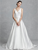 cheap Wedding Dresses-Princess V Neck Court Train Satin Made-To-Measure Wedding Dresses with Sashes / Ribbons by LAN TING BRIDE®
