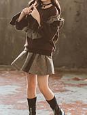billige Badeklær til jenter-Barn Jente Aktiv / Gatemote Daglig / Ut på byen Ruter Drapering Langermet Normal Kort Bomull / Polyester Tøysett Brun