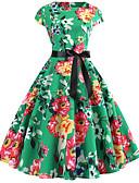 baratos Vestidos Vintage-Mulheres Básico Bainha Vestido Geométrica Acima do Joelho