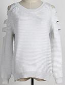 preiswerte Damen Pullover-Damen Wochenende Aktiv Solide Langarm Standard Pullover, Rundhalsausschnitt Schwarz / Rote / Grau XL / XXL / XXXL