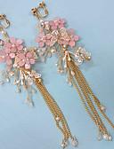 זול שמלות נשף-בגדי ריקוד נשים לבן עגילי טיפה ארוך פרח אופנתי דמוי פנינה עגילים תכשיטים ורוד עבור Party יומי 1set