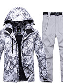 cheap Ice Skating Dresses , Pants & Jackets-ARCTIC QUEEN Men's Activewear Set / Ski Jacket with Pants Windproof, Warm, Detachable Cap Skiing / Snowboarding / Winter Sports POLY, Eco-friendly Polyester Pants / Trousers / Tracksuit / Top Ski Wear