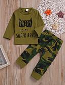 povoljno Kompletići za Za dječake bebe-Dijete Dječaci Ležerne prilike / Osnovni Dnevno / Praznik Print Dugih rukava Regularna Normalne dužine Pamuk Komplet odjeće Vojska Green 100 / Dijete koje je tek prohodalo