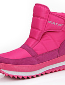 cheap Men's Shirts-Women's Snow Boots Canvas / Synthetics Winter Sporty / Casual Boots Flat Heel Round Toe Mid-Calf Boots Fuchsia / Light Blue / Burgundy
