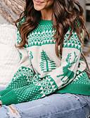 tanie Damskie bluzy z kapturem-Damskie Święta / Casual / Weekend Święta Geometric Shape / Kwiatowy wzór Długi rękaw Regularny Pulower Czerwony / Granatowy / Szary M / L / XL
