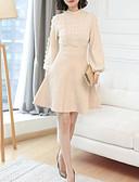 olcso Print Dresses-női kiment pulóver / köpeny ruha midi személyzet nyakát