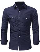 baratos Camisas Masculinas-Homens Camisa Social Activo / Básico Sólido
