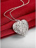 ieftine Romantic Lace-Pentru femei Gol Coliere cu Pandativ - S925 Sterling Silver Inimă, Iubire Modă Argintiu 45 cm Coliere Bijuterii 1 buc Pentru Nuntă, Petrecere, Zilnic