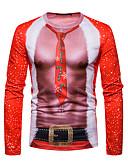 ieftine Maieu & Tricouri Bărbați-Bărbați Rotund Tricou Crăciun Geometric / Manșon Lung