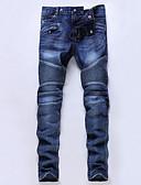 olcso Férfi nadrágok és rövidnadrágok-Férfi Pamut Vékony Farmerek Nadrág - Egyszínű Világoskék