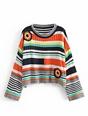 cheap Women's Coats & Trench Coats-Women's Daily Striped Long Sleeve Regular Pullover Cotton Rainbow One-Size