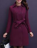 cheap Women's Coats & Trench Coats-Women's Going out Long Jacket, Solid Colored Point Long Sleeve Polyester Purple / Wine / Khaki XXXL / 4XL / XXXXXL / Slim
