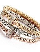 abordables Jupes-3pcs Bracelet Pendentif Parure Bracelet Femme Multirang Strass dames Doux Bracelet Bijoux Or Rose pour Cérémonie Soirée