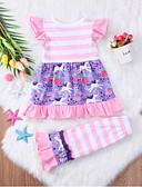Χαμηλού Κόστους Βρεφικά φορέματα-Μωρό Κοριτσίστικα Καθημερινό / Ενεργό Αργίες / Γενέθλια Ριγέ / Στάμπα Στάμπα Μισό μανίκι Κανονικό Κανονικό Βαμβάκι Σετ Ρούχων Ανθισμένο Ροζ / Νήπιο