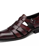cheap Men's Polos-Men's Comfort Shoes Nappa Leather Summer Sandals Black / Brown