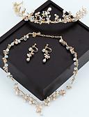 זול שמלות נשף-בגדי ריקוד נשים זהב קריסטל שרשרת תכשיט מצח עגילים סט קלאסי גבסופילה פאר דמוי פנינה עגילים תכשיטים זהב עבור חתונה Party 1set