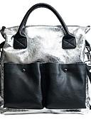 cheap Print Dresses-Women's Bags PU(Polyurethane) Tote Zipper Letter Gold / Black / Silver