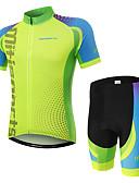 billige Cykeltrøjer-Herre Kortærmet Cykeltrøje og shorts - Grøn Cykel Tøjsæt, Hurtigtørrende Polyester Spot / Elastisk