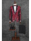 billige Jakkesæt-Ensfarvet Skræddersyet Polyester Jakkesæt - Hakrevers Enkeltbrystet med én knap