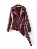 cheap Women's Leather & Faux Leather Jackets-Women's Daily Regular Leather Jacket, Solid Colored Peter Pan Collar Long Sleeve PU / Polyester Brown / Black M / L / XL / Slim