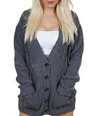 olcso Női pulóverek-Női Napi Alap Sodrott Egyszínű Hosszú ujj Bő Szokványos Kardigán, Mély-V Pamut Fekete / Sötétszürke M / L / XL