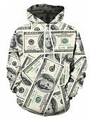 olcso Férfi pólók és pulóverek-Férfi Extra méret Sport Utcai sikk / Punk & Gótikus Hosszú ujj Kapucnis felsőrész Színes / 3D nyomtatás Kapucni / Tavasz / Ősz