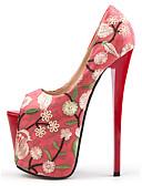povoljno Odijelo-Žene Pumps cipele Sintetika Proljeće & Jesen Kinezerije Cipele na petu Platformske cipele Peep Toe Crvena / Badem / Zabava i večer