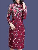 baratos Vestidos Plus Size-Mulheres Básico Delgado Calças - Floral Cintura Alta Vermelho / Gola Redonda / Sexy