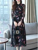cheap Women's Dresses-Women's Daily Basic Swing Dress Butterfly High Waist Shirt Collar Black L XL XXL