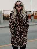 povoljno Ženske kaputi od kože i umjetne kože-Žene Dnevno Osnovni Normalne dužine Faux Fur Coat, Leopard Klasični rever Dugih rukava Umjetno krzno Braon L / XL / XXL