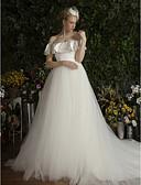 abordables Vestidos de Novia-Salón Hombros Caídos Capilla Satén / Tul Vestidos de novia hechos a medida con Volantes por LAN TING Express